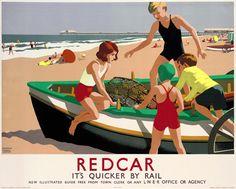 London & North Eastern Railway poster. Redcar by Leonard Cusden c1936.