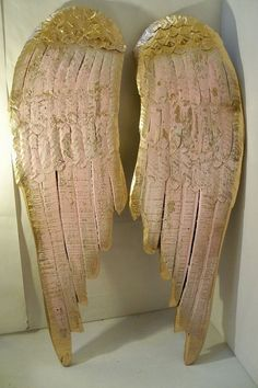 Large wood sculpture angel wings pink shabby chic wall hanging sculpture gold accents home decor Anita Spero. $178.00, via Etsy.