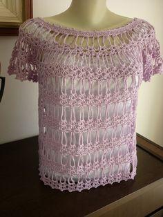 By Thaís Vitiniski: Linda blusa de croche com gráfico + minha experiência com minha primeira agulha Clover !!!