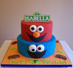 Elmo and Cookie Monster Cake by cakespace - Beth (Chantilly Cake Designs