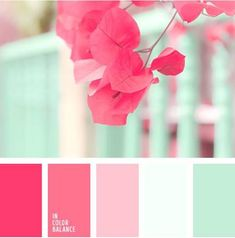 For a baby nursery, kitchen, girls room. bright, fresh mint color should be complemented with shades of crimson to create an original color combination. Use these colors when decorating - Color Palette Ideas Colour Pallete, Colour Schemes, Color Combinations, Color Palettes, Paint Schemes, Bright Colour Palette, Spring Color Palette, Green Palette, Pastel Palette