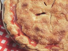 Strawberry Rhubarb Pie Recipe : Nancy Fuller : Food Network - FoodNetwork.com (Check out the crust recipe)