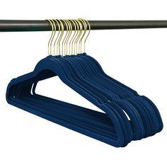Closet Complete Gold-Hook Navy Velvet Hangers - Set of 50 Non Slip Hangers, Suit Hangers, Plastic Hangers, Coat Hanger, Clothes Stand, Clothes Hanger, Where To Buy Suits, Baby Storage, Velvet Hangers