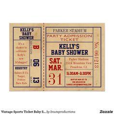 Vintage Sports Ticket Baby Shower Invite -Football