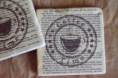 Drink Coasters  Tile Coasters  Travertine Tile by JuliBecker