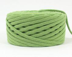 Apple Green T Shirt Yarn  40 Yards  Recycled by MikesTShirtYarn, $7.20