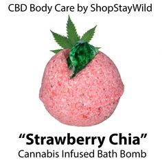 "The ""Strawberry Chia"" CBD bath bomb is infused with 10grams of cannabis rich hemp oil! Get it at www.shopstaywild.com"