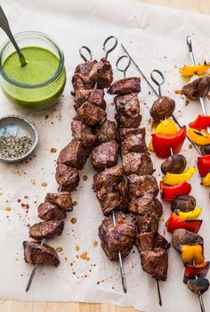Quick Marinated Steak Skewers with Chimichurri  Sauce by Jelly Toast
