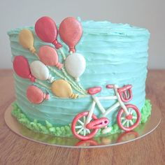 Inspired by an early pin. Cake. Birthday cake. Balloons. Bicycle. Girls cake