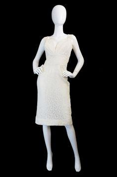 1950s White Lace Vixen Wiggle Dress