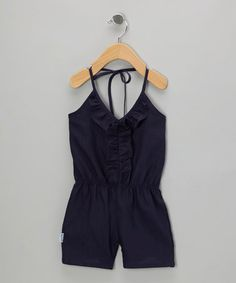 Take a look at this Navy Ruffle Romper - Infant, Toddler & Girls by Gypsy Kids on #zulily today!