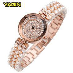 c93406040a1 Barato Marca YaQin Relógio Pulseira De Luxo Pérola Strass Relógios Das  Mulheres Originais De Quartzo Relógio