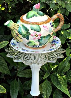 Garden Totem Stake Squash Blossom Teapot by GardenWhimsiesByMary, Garden Totems, Glass Garden Art, Glass Art, Garden Pond, Flower Plates, Glass Flowers, Garden Crafts, Garden Projects, Garden Ideas