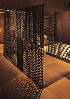 Decorative metal screen panels in the modern interior and exterior Metal Mesh Screen, Decorative Metal Screen, Lattice Screen, Partition Screen, Partition Design, Divider Screen, Interior Exterior, Modern Interior, Exterior Design