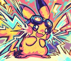 Feels like graffiti style! Is that Pikachu with pilots' goggles? Pokemon Luna, All Pokemon, Pokemon Fan Art, Pokemon Cards, Pokemon Fusion, Pikachu Art, Cute Pikachu, Pokemon Images, Pokemon Pictures