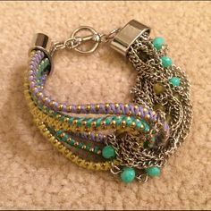 Steve Madden Silverton Shaky bracelet NWOT bracelet by Steve Madden. Ocean theme, green and blue colors. Absolutely gorgeous and in pristine condition. Chunky bracelet and has an easy hook. 100% AUTHENTIC✨ No trades Matching necklace also available in another listing! Feel free to bundle them for 15% discount :) Steve Madden Jewelry Bracelets