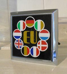 "Vintage, EU,""European Union"" Car Badge,Grill Badge,Early 9 Members,Badge Bar,"