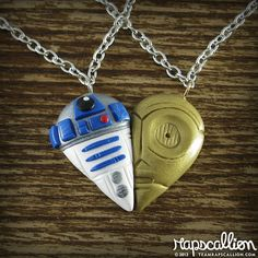 Adorbs. :: R2D2 and C3PO Inspired Best Friends Necklace by rapscalliondesign