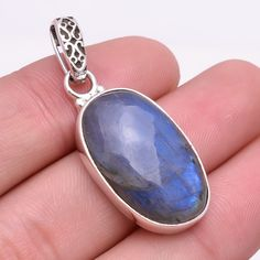925 Sterling Silver Pendant, Natural Fire Play Labradorite Gemstone Jewelry P265 #Handmade #Fashion