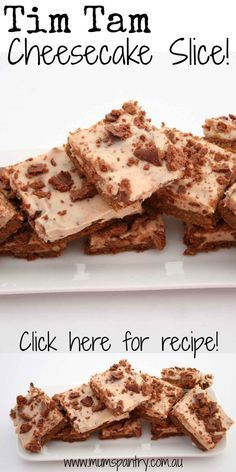 Take 2 yummy treats, Tim Tams and Cheesecake and combine together. A creamy plate of chocolate wickedness! No Bake Treats, Yummy Treats, Delicious Desserts, Sweet Treats, Yummy Food, Tim Tam Cheesecake, Brownie Cheesecake, Cheesecake Recipes, No Bake Slices
