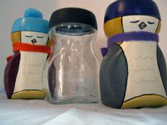 Penguins from Nescafe jars