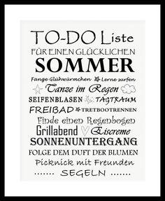 """Kunstdruck Bild Spruch """"Sommer""""  von MilaLu auf DaWanda.com"""