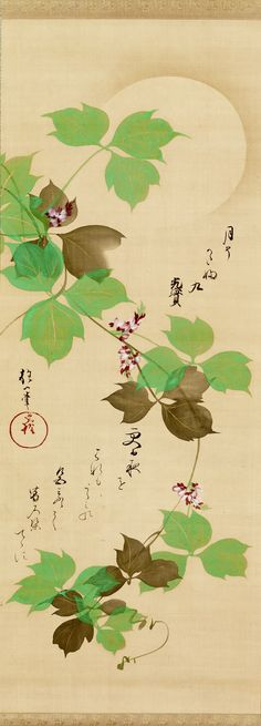 Sakai Hôitsu. Moon and Arrowroot Vine. Japanese hanging scroll. Rimpa School.
