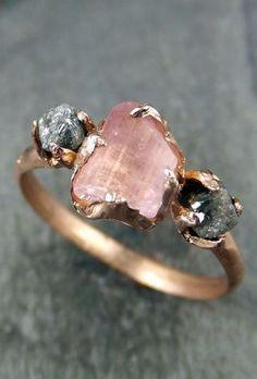 Raw Pink Tourmaline Diamond 14k Rose Gold ring on etsy