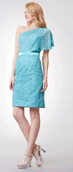 US$103.99-Stunning One Shoulder Short Lace Light Blue Bridesmaid Dress with Sleeve.  https://www.doriswedding.com/stunning-one-shoulder-short-lace-dress-with-satin-sash-pZP_101750.html.  Free shipping on bridesmaid dresses at #DorisWedding.com. Shop the latest designer colors and designs for the perfect dress for your bridesmaids. #bridesmaid