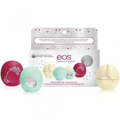 eos - eos Holiday 2015 Limited Edition Decorative Lip Balm Collection - Flavors: Sweet Mint, Pomegranate Raspberry & Limited Edition Vanilla Bean