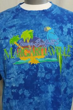 MARGARITAVILLE ORLANDO XL SHIRT JIMMY BUFFETT Blue Tie Dye T Shirt Parrot  Palm cbcaaa53e159