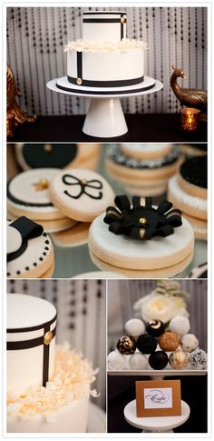 Love the minimalist monochrome in this vintage hollywood glam shoot! Dessert Buffet, Dessert Bars, Candy Buffet, Black And White Wedding Cake, Black White, 100 Layer Cake, Cakes And More, Let Them Eat Cake, Beautiful Cakes