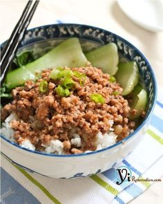 Taiwanese Minced Pork Sauce over Rice (肉燥飯),Baking Baking Cuisine beef noodle soup Cuisine chinese Cuisine food recipes Cuisine taiwan food Pork Recipes, Asian Recipes, Cooking Recipes, Chinese Recipes, Chinese Food, Cooking Wine, Asian Cooking, Pork Broth, Pork Stew