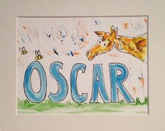 Name picture, giraffe nursery, new baby gift, personalised gift, baby gift, custom nursery decor, custom painting, child name picture