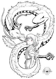 Chihiro_maria_latorre by marialatorreart on DeviantArt Studio Ghibli Tattoo, Studio Ghibli Art, Studio Ghibli Movies, Tattoo Studio, Anime Kunst, Anime Art, Spirited Away Tattoo, Coloring Books, Coloring Pages