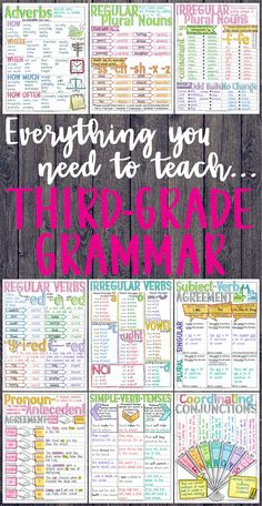 Everything you need to teach third-grade grammar and language skills! PowerPoints, task cards, printables, doodle notes, and interactive notebook activities.