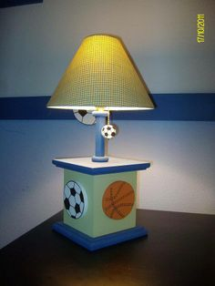 Sports lamp basketball, soccer and football for baby boy room decor Baby Boy Room Decor, Baby Boy Rooms, Kids Lamps, Baby Theme, Baby Baby, Future House, Basketball, Table Lamp, Nursery
