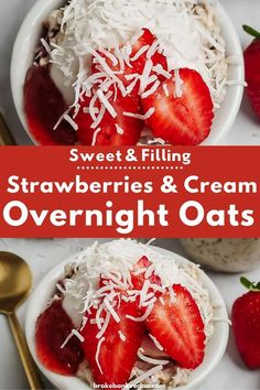 These strawberries and cream overnight oats are calling your name. Fill up on creamy oats and bursts of juicy explosions in every bite. This recipe is one for the books. #overnightoats #strawberryovernightoats #veganoats Healthy Vegan Breakfast, Protein Packed Breakfast, Savory Breakfast, Breakfast Ideas, Strawberry Overnight Oats, Vegan Overnight Oats, Baby Led Weaning Breakfast, Acid Reflux Recipes, Egg Free Recipes