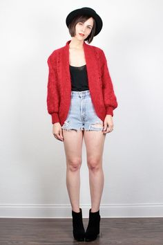 Vintage 80s Sweater Red Chunky Knit Cardigan Open Front Knit Bomber Jacket 1980s Oversized Jumper Fuzzy Mohair Knit Sweater Coat S M Medium by ShopTwitchVintage #1980s #80s #mohair #cardigan #bomber #jacket #sweater #knit #etsy #vintage