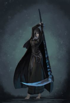 absurdres ashes_of_ariandel barefoot character_request cloak dark_souls dark_souls_iii highres hood scythe sister_friede sketch solo souls_(from_software) steamkuma sword weapon Dark Souls 2, Arte Dark Souls, Fantasy Character Design, Character Inspiration, Character Art, Dark Fantasy, Fantasy Characters, Female Characters, Soul Saga