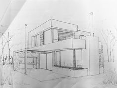 Best Picture For Architecture perspective plan For Your Taste You are looking for something, Architecture Design, Architecture Drawing Sketchbooks, Architecture Concept Drawings, House Design Drawing, House Drawing, Interior Design Sketches, House Sketch, Designs To Draw, Exterior Design