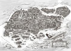 Peta Singapura - Printed Map of Singapore