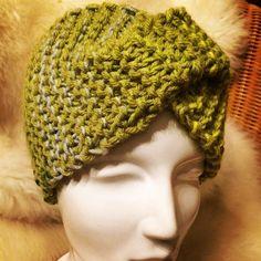 Stirnband / Bandeau with Twist handmade by Strickgräfin, Green coloured Winter Hats, Crochet Hats, Beanie, Green, Handmade, Color, Fashion, Scarf Knit, Head Bands