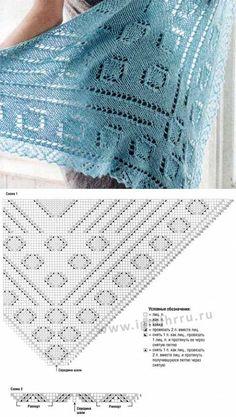 шали палантины шарфы - Her Crochet, Diy Abschnitt, Knit Wrap Pattern, Lace Knitting Patterns, Shawl Patterns, Crochet Poncho, Knitted Shawls, Crochet Motif, Free Crochet, Knitting Accessories, Crochet Projects