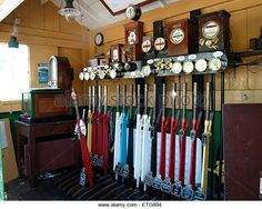 Levers inside original signal box, Washford Station, part of the West Somerset heritage railway, Somerset, UK -- England