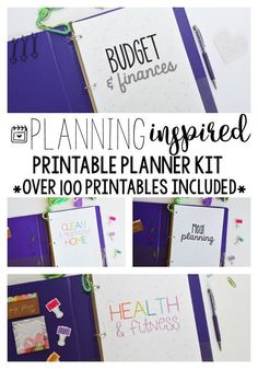 This printable planner kit has EVERYTHING you need to get started- over 100 printables included and it is on SALE! Budgeting, finance, meal planning, fitness, cleaning and more!
