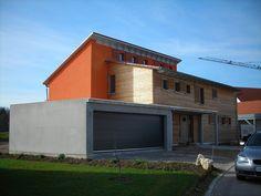 Einfamilienhaus modern pultdach  Einfamilienhaus modern Holzhaus Flachdach Garage mit Flachdach ...