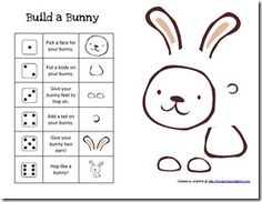 build a bunny game (like Cooties) cut piece out of craft foam, then kids have a bunny to take home- good reinforcement game for Easter time!
