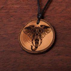Elefant Kopf - Ketten Holzschmuck aus Naturholz / Anhänger Pocket Watch, Abs, Accessories, Pyrography, Chains, Handmade, Ring, Wristlets, Crunches