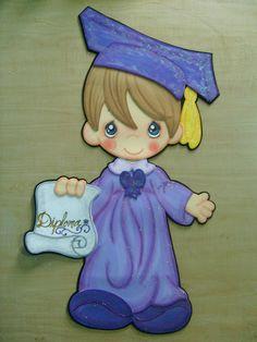 Imágenes de niños graduados en foami - Imagui Graduation Cookies, Graduation Decorations, Graduation Cards, Cute Crafts, Diy And Crafts, Foam Crafts, Paper Crafts, Orla Infantil, Precious Moments Coloring Pages
